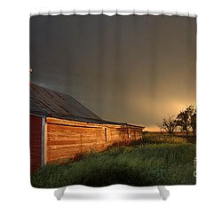 Red Barn At Sundown Shower Curtain by Jerry McElroy
