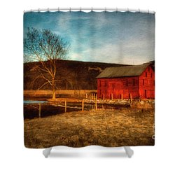 Red Barn At Twilight Shower Curtain by Lois Bryan