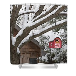 Red Barn Birdhouse On Tree In Winter Shower Curtain