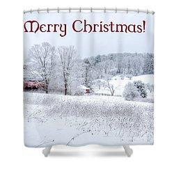 Red Barn Christmas Card Shower Curtain