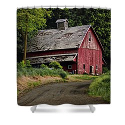 Red Barn - County Road  Shower Curtain