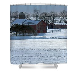 Red Barn In Snow Cover Shower Curtain