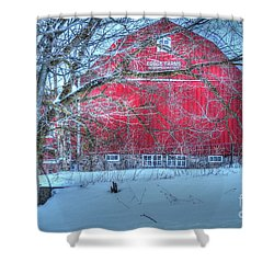 Red Barn In Winter Shower Curtain by Terri Gostola