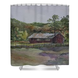 Red Barn Shower Curtain by Janet Felts