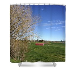 Red Barn Shower Curtain by Les Cunliffe