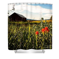Shower Curtain featuring the photograph Red Barn by Meghan at FireBonnet Art