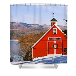 Red Barn On Newfound Lake Shower Curtain