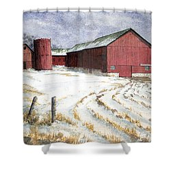 Red Barn On Rt. 49 Shower Curtain
