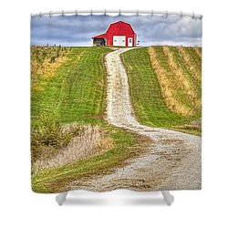 Red Barn On The Hill Shower Curtain