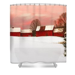 Red Barn Sunset Shower Curtain by John Vose