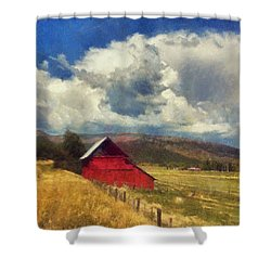 Red Barn Under Cloudy Blue Sky In Colorado Shower Curtain