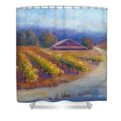 Red Barn Vineyard Shower Curtain by Carolyn Jarvis