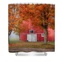 Shower Curtain featuring the photograph Red Barn With White Barn Door by Jeff Folger