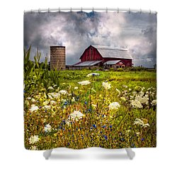 Red Barns In The Wildflowers Shower Curtain by Debra and Dave Vanderlaan