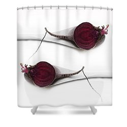 Red Beets Shower Curtain by Priska Wettstein