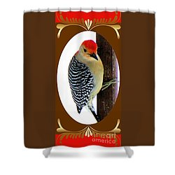 Shower Curtain featuring the photograph Red-bellied Woodpecker Framed by Janette Boyd