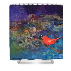 Red Bird Shower Curtain by Robin Maria Pedrero