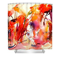 Red Blooms Shower Curtain by Tolere