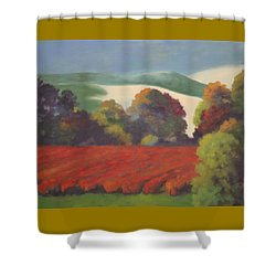 Shower Curtain featuring the painting Red Blueberries by Nancy Jolley