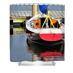Red Boat Reflections Rockland Maine Shower Curtain