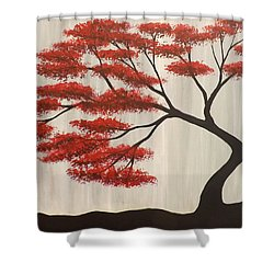 Shower Curtain featuring the painting Red Bonsai by Darren Robinson