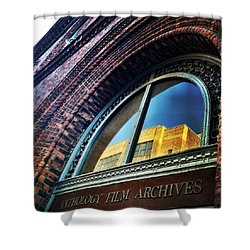 Red Brick Reflection Shower Curtain by Natasha Marco