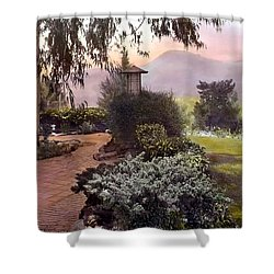 Red Bricks And Violet Mountain Shower Curtain by Terry Reynoldson