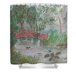 Red Bridge At Wollongong Botanical Gardens Shower Curtain