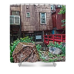Shower Curtain featuring the photograph Red Bridge On Lover's Lane I by Lanita Williams