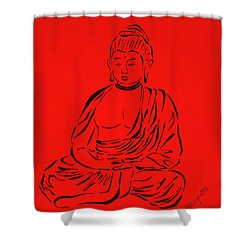Red Buddha Shower Curtain by Pamela Allegretto