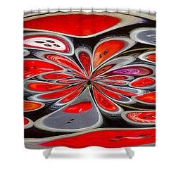 Red Button Orb Shower Curtain by Jean Noren