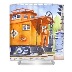 Red Caboose With Signal  Shower Curtain by Kip DeVore