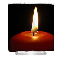 Red Candle Burning Shower Curtain by Matthias Hauser
