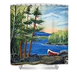 Shower Curtain featuring the painting Red Canoe by Brenda Brown