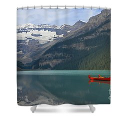 Red Canoes On Lake Louise Shower Curtain by Teresa Zieba