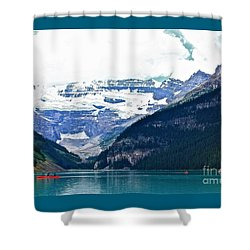 Red Canoes Turquoise Water Shower Curtain by Linda Bianic