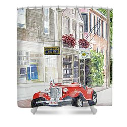 Shower Curtain featuring the painting Red Car by Carol Flagg