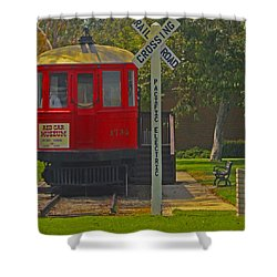 Red Car Museum In Seal Beach Ca Shower Curtain by Ben and Raisa Gertsberg