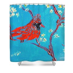 Red Cardinal Spring Shower Curtain by Richard W Linford