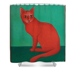 Red Cat Shower Curtain by Pamela Clements