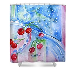 Red Cherries And Sweet William Shower Curtain