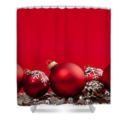 Red Christmas Baubles And Decorations Shower Curtain by Elena Elisseeva