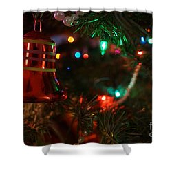 Red Christmas Bell Shower Curtain by Kerri Mortenson