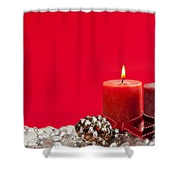 Red Christmas Candles Shower Curtain by Elena Elisseeva