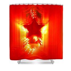 Red Christmas Star Shower Curtain by Gaspar Avila