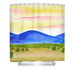 Red Clouds Over Mountains Shower Curtain