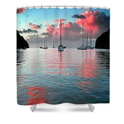 Red Clouds Shower Curtain