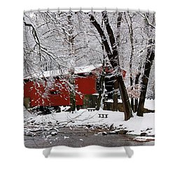 Red Covered Bridge Winter 2013 Shower Curtain