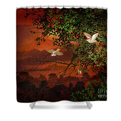 Red Dawn Sparrows Shower Curtain by Bedros Awak