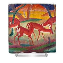 Red Deer 1 Shower Curtain by Franz Marc